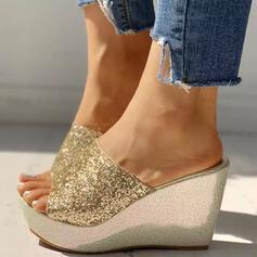 Bayanlar PU Sivri topuk Sandalet Takozlar Ile Payet Parlak parıltı ayakkabı