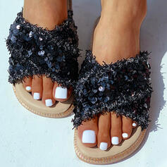 Women's PU Flat Heel Sandals Peep Toe Slippers With Sequin Crisscross shoes