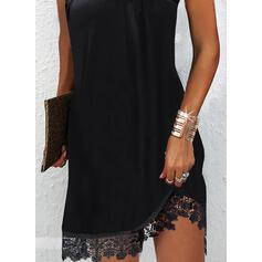 Solid Dantel Kolsuz Shift Elbiseleri Deasupra Genunchiului Negre/Parti Elbiseler