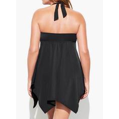 Solid Color Halter V-Neck Vintage Plus Size Swimdresses Swimsuits