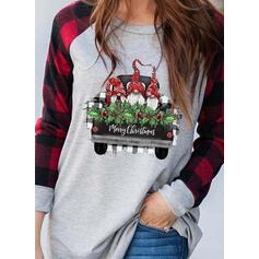 Print Plaid Round Neck Long Sleeves Casual Christmas T-shirts