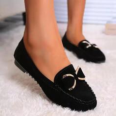 Dla kobiet Zamsz Płaski Obcas Plaskie Round Toe Slajd i muły Niesznurowane mokasyny Poślizgnąć się na Z Kokarda Jednolity kolor obuwie
