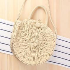 Oco Corda de papel Bolsa de Ombro/Sacos de praia/Balde Malas