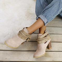 Dla kobiet Zamsz Obcas Slupek Botki Z Sznurowanie obuwie