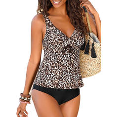 Leopard Print Strap V-Neck Sexy Tankinis Swimsuits