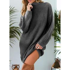 Sólido Punto Grueso Cuello de Soporte Casuales Vestido de Suéter