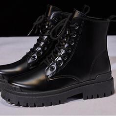 Női PU Alacsony sarok Lapos sarok Chunky sarok Egyéb Csizma Bokacsizma Hótaposó Magas felső Kerek lábujj -Val Lace-up Szolid szín cipő