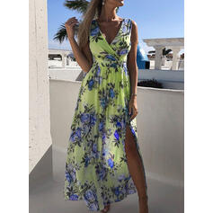 Nadrukowana/Kwiatowy Bez rękawów W kształcie litery A Casual Midi Sukienki