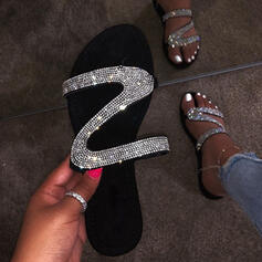 De mujer PU Tacón plano Pantuflas con Lentejuelas zapatos
