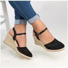 Kvinnor PU Kilklack Sandaler med Spänne skor