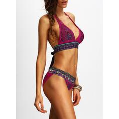 Üçgen Düşük bel baskı Boyundan Bağlamalı Modaya Uygun Retro Bikiniler Fürdőruhák