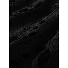 Большой размер Прямые платья Длина колена Повседневная Маленький черный Платье