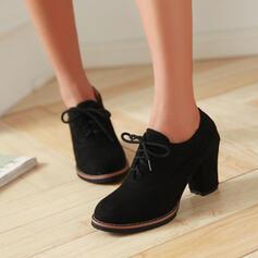 Vrouwen Suede Low Heel Chunky Heel Cone Heel Laarzen Enkel Laarzen Lage top met Las kleur Effen kleur schoenen