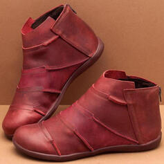 Kvinnor PU Flat Heel Stövlar med Zipper skor