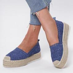 Femmes Tissu Talon plat Chaussures plates avec Ouvertes chaussures