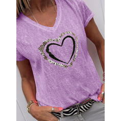 Nadruk Cekiny Serce Dekolt w kształcie litery V Krótkie rękawy Casual T-shirty