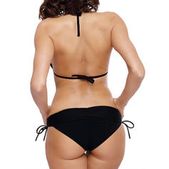 Solid Color Drawstring Halter Elegant Fashionable Bikinis Swimsuits