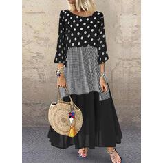 PolkaDot/Plaid/Patchwork 3/4 Sleeves Shift Casual Maxi Dresses