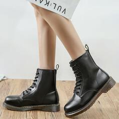 Mulheres Couro Salto baixo Toe rodada com Aplicação de renda Cor sólida sapatos