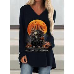 Print Halloween V-Neck Long Sleeves Sweatshirt