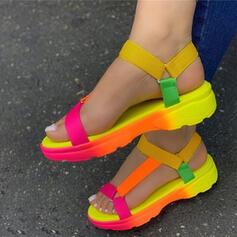 холст Плоский каблук Сандалии Насосы Платформа Peep Toe с Выдолбить липучка обувь