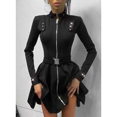 Solid Long Sleeves A-line Above Knee Little Black/Elegant Skater Dresses