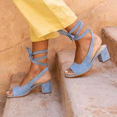 Mulheres Camurça Salto robusto Sandálias Bombas Peep toe Saltos com Aplicação de renda sapatos