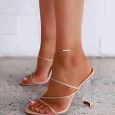 Dla kobiet Mikrofibra Obcas Slupek Czólenka Otwarty Nosek Buta Kapcie Z Klamra Tkanina Wypalana Jednolity kolor obuwie