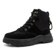 Women's Canvas Low Heel Martin Boots Round Toe With Splice Color shoes