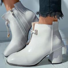 Mulheres PU Salto robusto Bota no tornozelo Martin botas Toe quadrado com Zíper Aplicação de renda sapatos