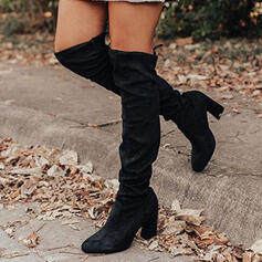 Women's Suede PU Chunky Heel Over The Knee Boots Round Toe With Lace-up Solid Color shoes