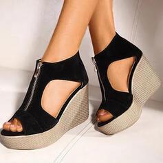 Bayanlar Süet Sivri topuk Sandalet Takozlar Peep Toe topuk Ile Fermuar ayakkabı