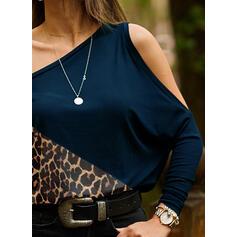 Цветной блок леопард Одно плечо Длинные рукова Повседневная Блузы