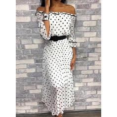 PolkaDot 3/4 Sleeves A-line Casual Midi Dresses
