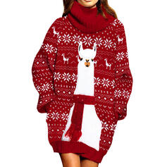 Animal Print Long Sleeves Bodycon Above Knee Christmas/Casual Sweater Dresses