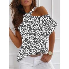 Leopard One-Shoulder Short Sleeves Casual Blouses