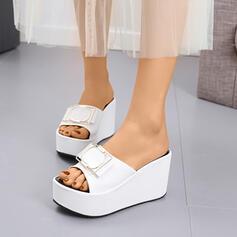 De mujer Cuero Tipo de tacón Sandalias Cuñas Encaje Solo correa Pantuflas con Bowknot zapatos
