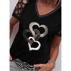 Распечатать Блестки Сердце Холодный прием С коротким рукавом Повседневная Блузы