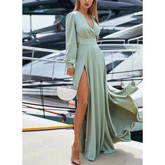 Jednolita Długie rękawy/Rękaw latarnia W kształcie litery A Okrycie/Łyżwiaż Przyjęcie/Elegancki Maxi Sukienki