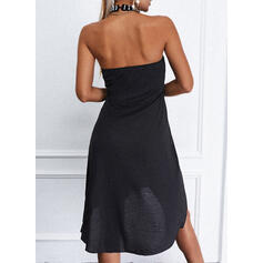 Solid/Beaded/Backless Sleeveless Shift Above Knee Little Black/Casual Dresses