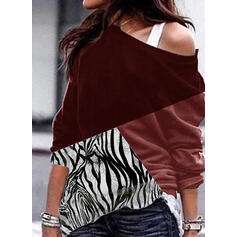 Print Color Block One Shoulder Long Sleeves Sweatshirt