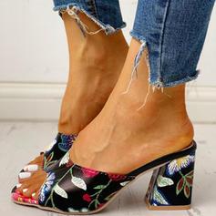 Mulheres PU Salto robusto Sandálias Peep toe Chinelos sapatos