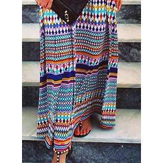 Nadruk geometryczny Rękawy 3/4 Koktajlowa Casual Maxi Sukienki