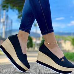 Женский ткань меш Танкетка Сандалии клинья Peep Toe Каблуки с Сплошной цвет обувь