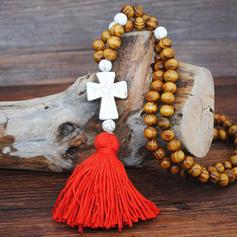 De moda Los granos de madera con Borlas De mujer Collar de la manera