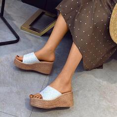 Женский PU Танкетка клинья Peep Toe Домашние тапочки с цехин обувь