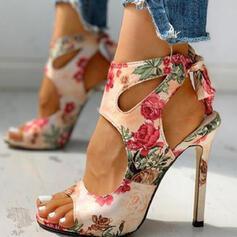 Dla kobiet PU Obcas Stiletto Sandały Czólenka Otwarty Nosek Buta Spiczasty palec u nogi Z Tkanina Wypalana Kwiaty Kolor splotu obuwie