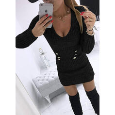 Jednolita Długie rękawy Bodycon Nad kolana Mała czarna/Casual Sweter Sukienki
