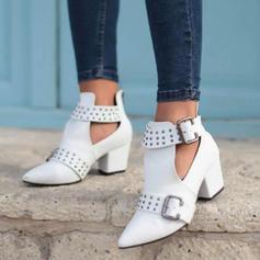 Femmes PU Talon bottier Escarpins Bottes avec Rivet Boucle chaussures
