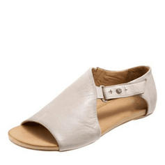 Bayanlar PU Düz topuk Sandalet Flats Peep Toe Ile Toka ayakkabı